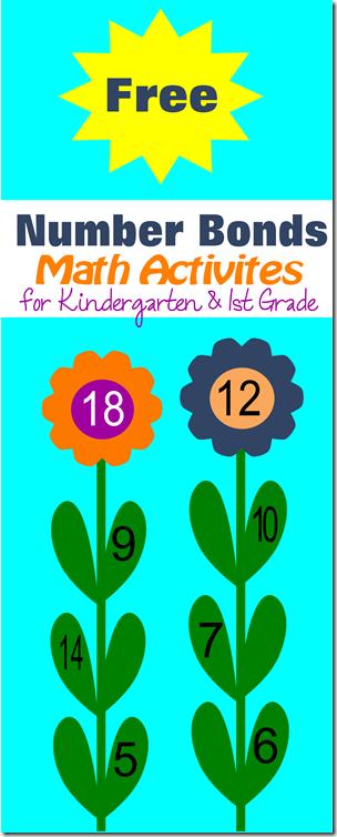 Free printable number bonds flower math activities for kindergarten and 1st grade homeschoolers using singapore math