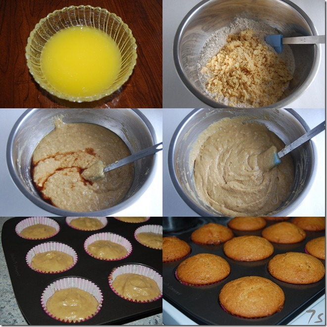 Eggless wheat muffin with jaggery process