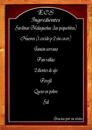 Pizarra ingredientes