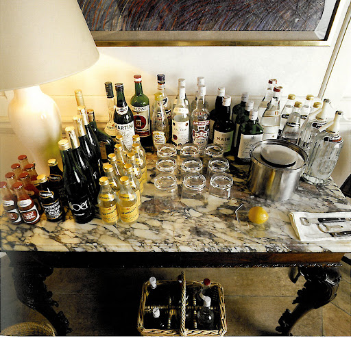 Every host needs a bar and I plan on setting one up in either my living or dining room. I love the marble top on of this table - it's exquisite.