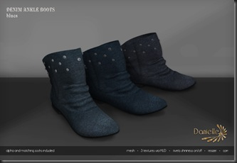 DANIELLE Denim Ankle Boots Blues'