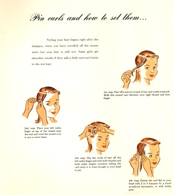 Vintage pin curling illustration - Pin Curls 101 | Lavender & Twill