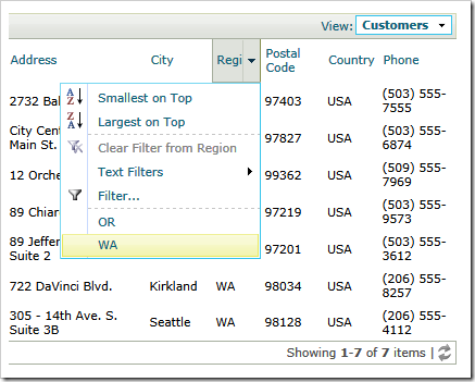 List of customers filtered by array of (WA, OR)