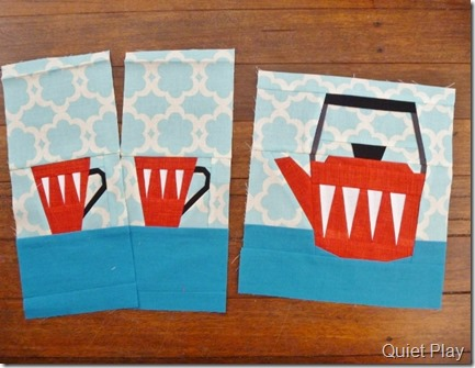 Paper Pieced Retro Kettle and cups