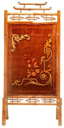 belle epoque velvet and bamboo fire screen