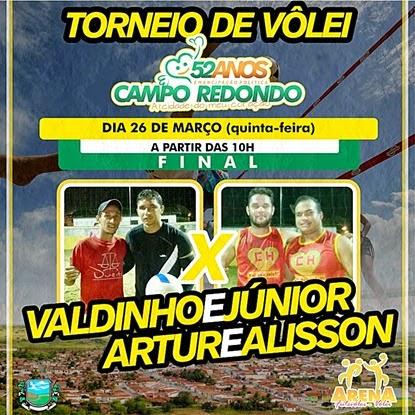 VOLEI - FINAL - JÚNIOR - VALDINHO - VALDENUBIO - ARTUR - ALISSON - CAMPO REDONDO - ARENA - 52 ANOS - WESPORTES - WCINCO