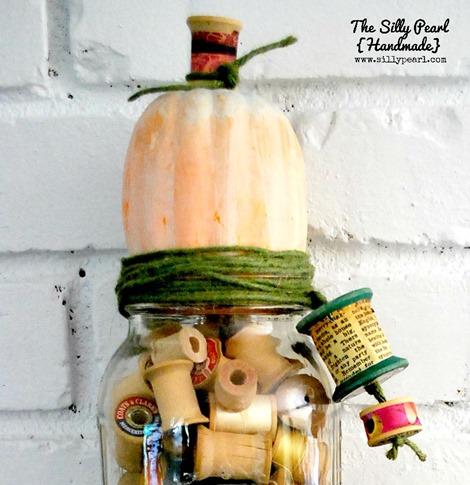 vintage spool pumpkin mason jar