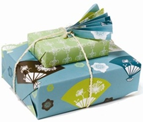 whimsy press green tea wrapping paper