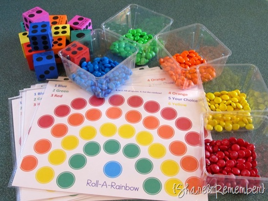 Roll A Rainbow Preschool Game printable