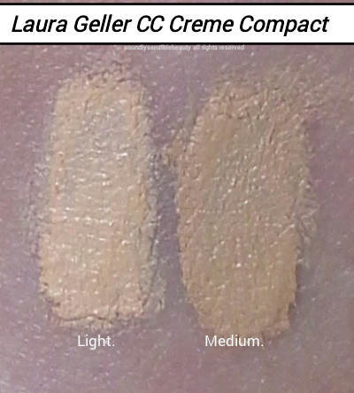 Laura Geller CC Creme Cream Compact Light Medium Tan Swatches of Shades and Review