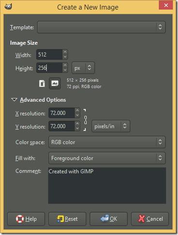 Create a New Image dialog screenshot