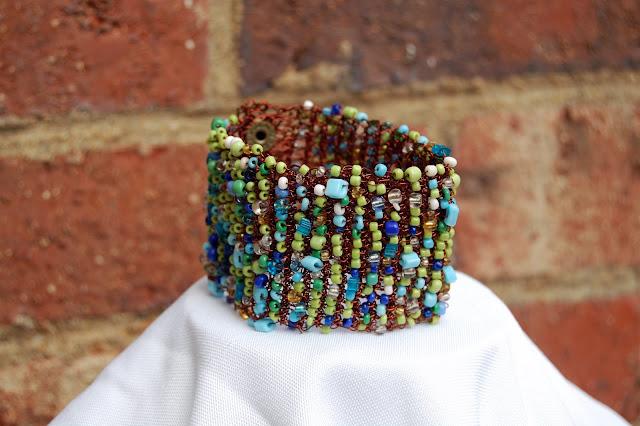 Crochet Copper Bangle:  Ocean