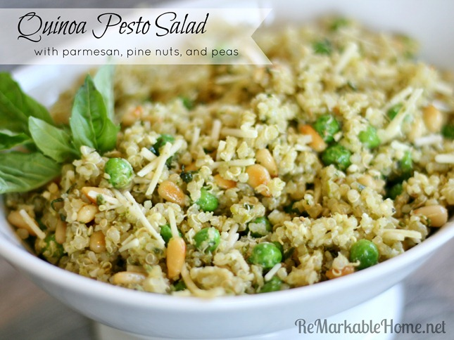 {www.ReMarkableHome.net} Quinoa Pesto Salad with parmesan, pine nuts, and peas