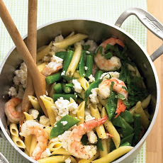 Penne with Shrimp, Feta, and Spring Vegetables