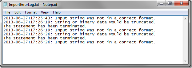 Log text file logging all errors when importing.