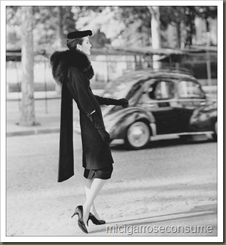 Woman-modeling-Balenciaga-coat-and-dress