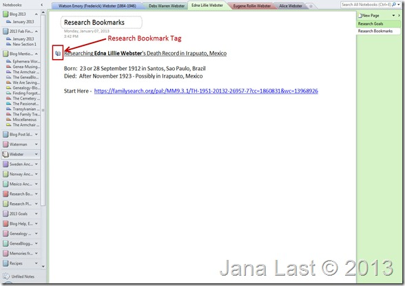 OneNote for Genealogy Research Bookmark Tag 2