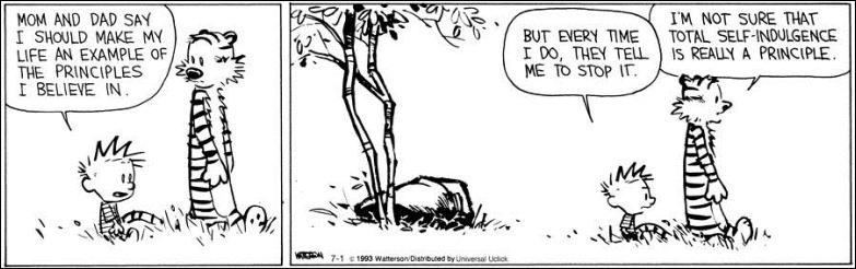 Calvin & Hobbes viver de acordo com os nossos princípios