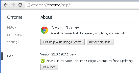 Google Chrome 22 web-based About page