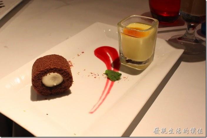 台南-西堤(Tasty)民族店。甜點-布蕾奶凍捲。好漂亮的擺盤,蛋糕的裡面有一球冰淇淋。