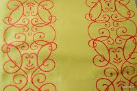 """Luksusowa trudnopalna tkanina z haftem. """"Tafta"""" butikowa. Na zasłony, poduszki, narzuty, dekoracje. Zielona, czerwona."""
