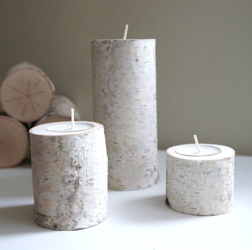 Natural White Birch Wood Candle Holders, Set of 3, $26, www.etsy.com/shop/urbanplusforest.