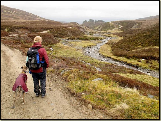 Sue O and Harvey scout for a lunch spot beside Allt Mor