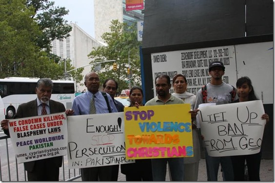 August 12, 2010 - NYC - Pakistan Christians Protesting Oppression (Photo Dr. Nazir Bhatti)