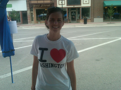 Cari Widdel from Faith Baptist Church wearing the &quot;I Love Washington&quot; tshirt