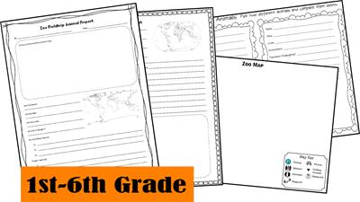 Elementary Homeschool Zoo Fieldtrip Animal Report Forms