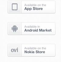 PSD de botones blancos para descargar aplicaciones