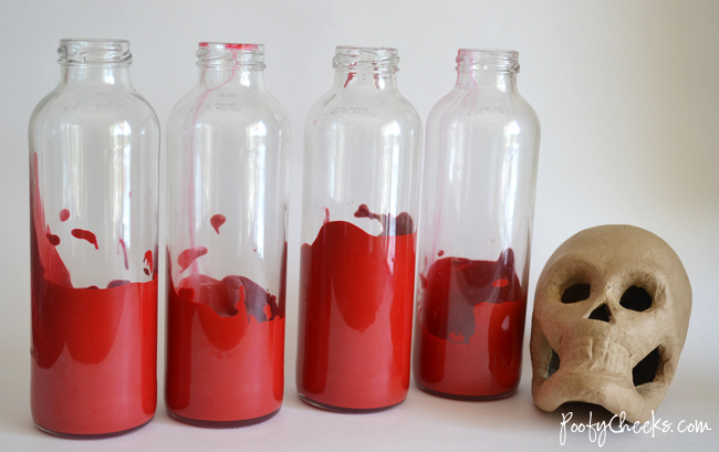Reuse Glass Bottles into Halloween Bite Decor!