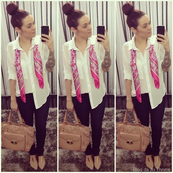 look básico camisa branca, lenço estampado e jeans (2)