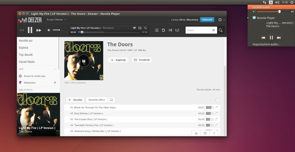 Nuvola Player 2.4.0 in Ubuntu