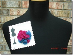 pink and blue felt flower pin