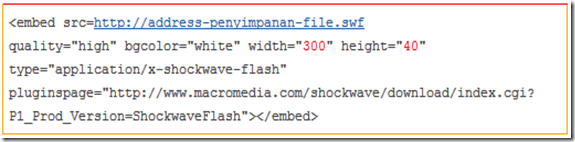 Code dasar Flash di Blog Blogger