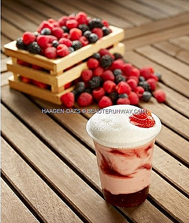 Haagen-Dazs Summer Berries Frizz Drink Cream Ice cream Berry Blush healthy fruity raspberries strawberries blue black berries currant pints mini cup supermarket cafe restaurant