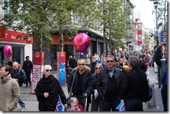 Parade on Laugavegur street on National Day in Reykjavik