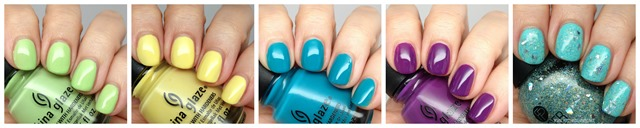 China Glaze Be More Pacific, Sun Upon My Skin, Wait N' Sea, X-ta Sea and FingerPaints Dream I Can Fly + Crystal Springs