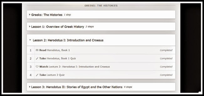 The Histories showing steps to complete lessons