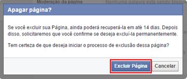 Confirmação de exclusão de página do Facebook