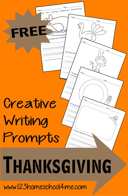 FREE Thanksgiving Writing Prompts for Kindergarten, first grade, 2nd grade, 3rd grade, and 4th garde kids. Perfect creative writing for kids and creative writing for kids free printable, homeschool, and thanksgiving writing activities.