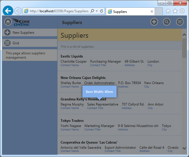 Display width of a list item displayed when user performs Ctrl+Shift+DblClick in an app with Touch UI displayed in a desktop web browser.