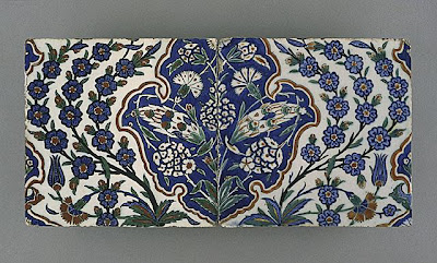 Tile [two of two] | Origin: Turkey, Iznik, Ottoman | Period:  last quarter of the 16th century | Collection: The Phil Berg Collection (M.71.73.37b) | Type: Ceramic; Architectural element, Fritware, underglaze painted in red, blue, green and black, 8 x 19 in. (20.3 x 48.3 cm)