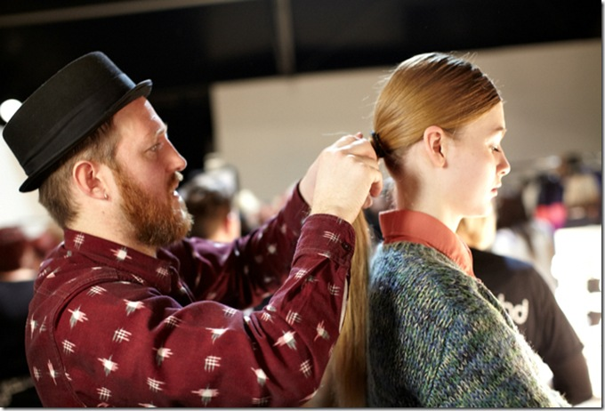 ghd's Creative Director Kenna backstage at David Koma AW12 at LFW