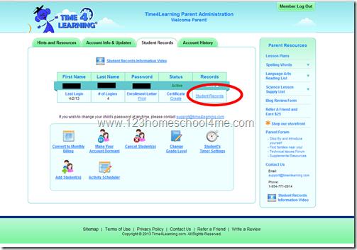 Time4Learning 1st grade enrichment program parent tools