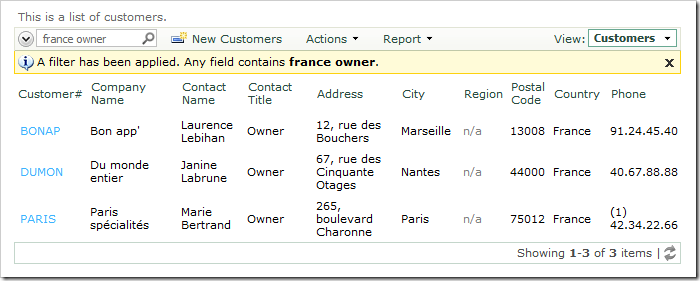 Search results for 'France owner' in Customers grid view