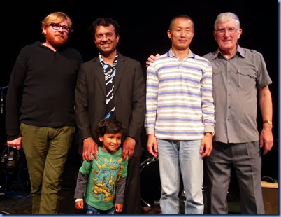 The organizers of the Concert: far left, PumpHouse Theatre Manager, David Martin, and far right Gordon Sutherland, President of the North Shore Organ and Keyboard Club. The two key players from the Concert in the middle: Ben Fernandez and Takashi Iida. Ben's son Joshua showing his pride in his dad!