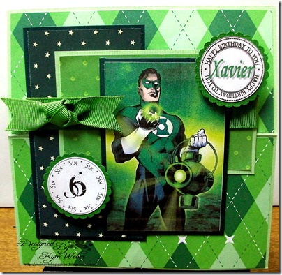 The Green Lantern Birthday Cake Easel Card