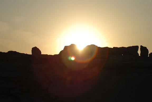 Turfan - Ruines de Jiaohe coucher de soleil